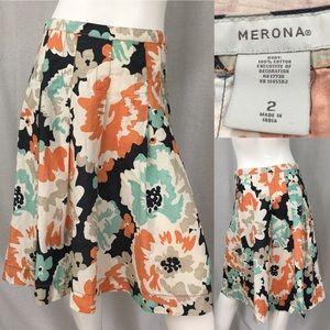 Size 2 Merona Floral Knee Length Pleated Skirt